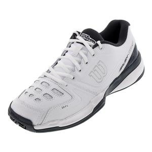 Unisex Rush Comp Leather Tennis Shoes White and Ebony