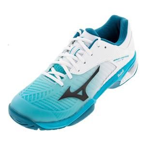 Men`s Wave Exceed Tour 3 AC Tennis Shoes White and Peacock Blue