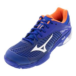 Men`s Wave Exceed Tour 3 AC Tennis Shoes Reflex Blue and Nasturtium