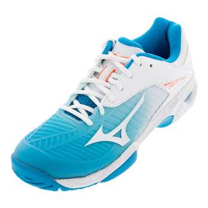 Women`s Wave Exceed Tour 3 AC Tennis Shoes Blue Jewel and Fiery Coral