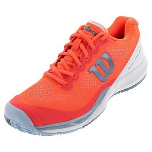 Women`s Rush Pro 3.0 Tennis Shoes Fiery Coral and White