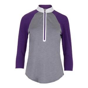 Women`s 3/4 Sleeve Melange Mock Tennis Top Fog and Purple Mist