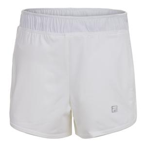 Girls` Double Layer Knit Tennis Short White