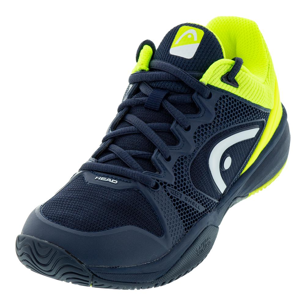 Juniors ` Revolt Pro 2.5 Tennis Shoes Dark Blue And Neon Yellow
