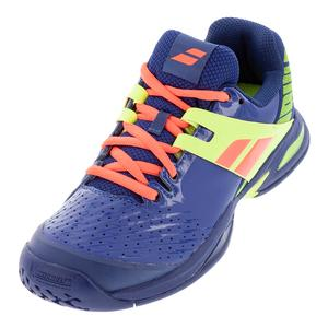 Juniors` Propulse All Court Tennis Shoes Blue and Fluo Aero