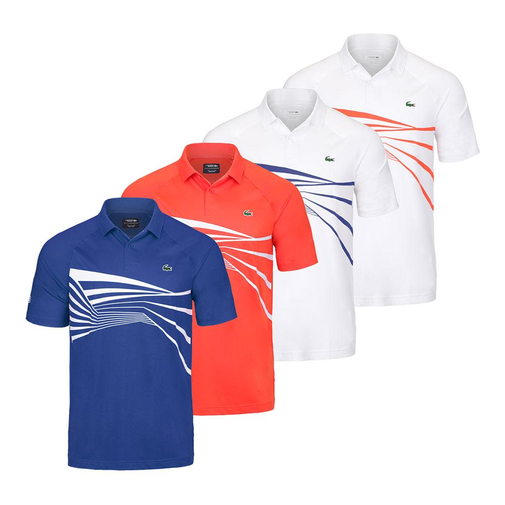 cf57e9833 Lacoste Men`s Novak Djokovic Ultra Dry Graphic Tennis Polo