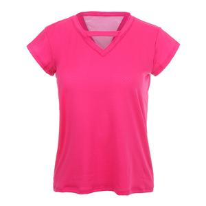 Women`s Relaxed V Short Sleeve Tennis Top Raspberry
