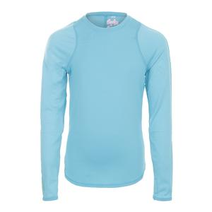 Girls` Long Sleeve Athletic Tennis Crew Ocean