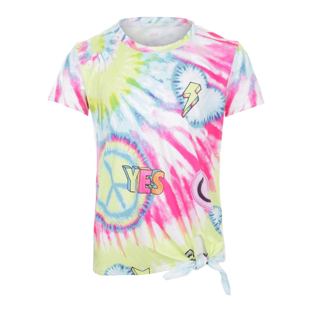 Girls ` Tie Knot Tennis Tee Peace And Love
