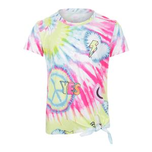 Girls` Tie Knot Tennis Tee Peace and Love