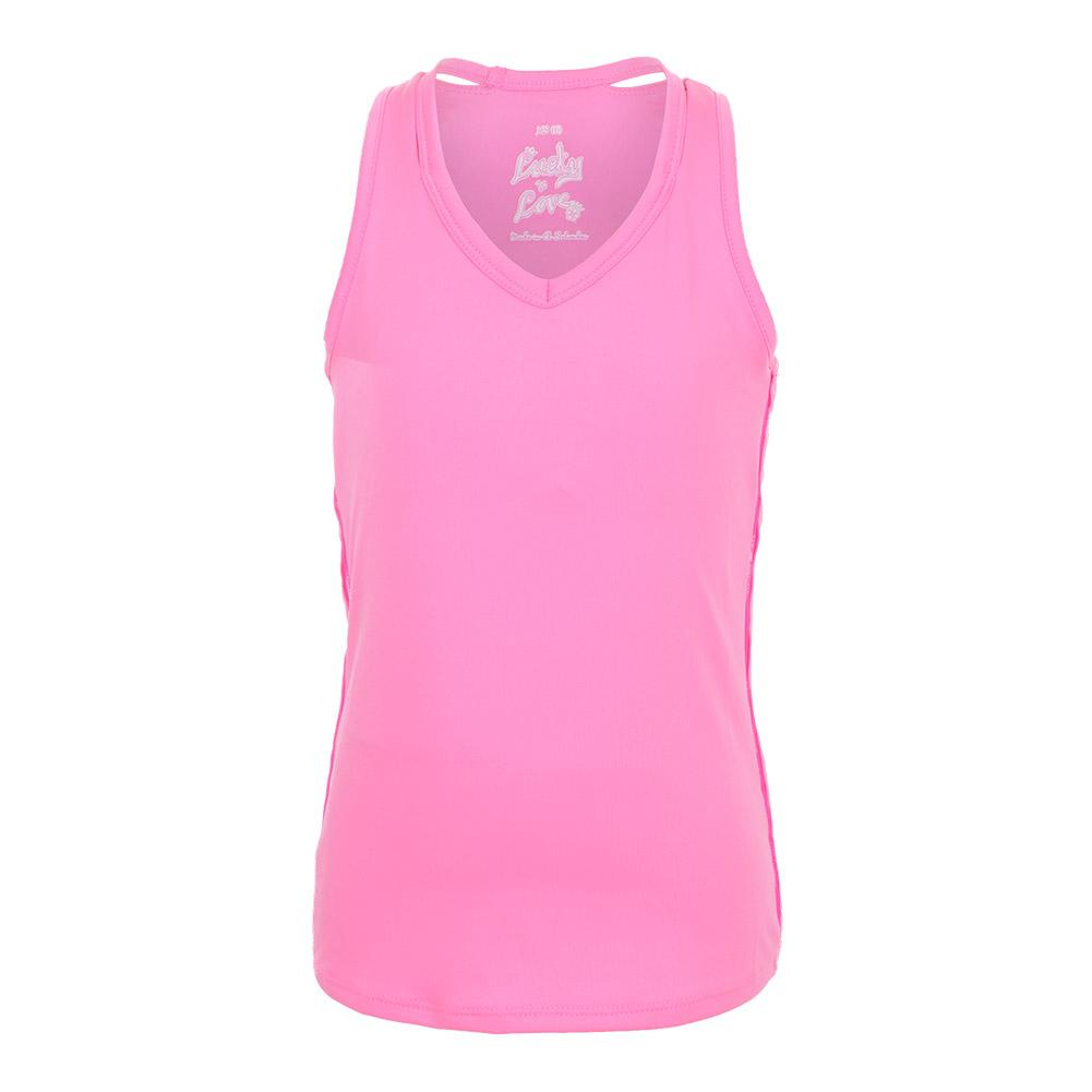 Girls ` V- Neck Cutout Tennis Tank Pink