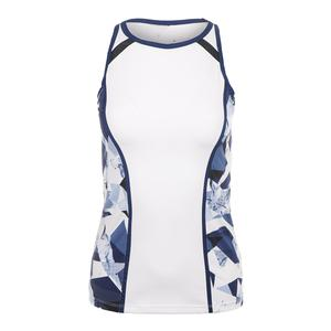 Women`s Chaya Racerback Tennis Tank White and Crystal Marble