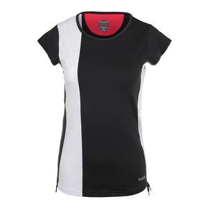 Women`s Safari Cap Sleeve Tennis Top Black and White