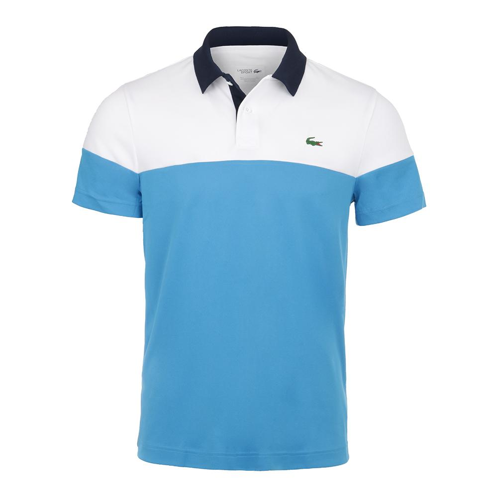 91f3207e6 Lacoste Men`s Color Blocked Tennis Polo Blanc and Pratensis Marine ...