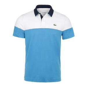 Men`s Color Blocked Tennis Polo Blanc and Pratensis Marine
