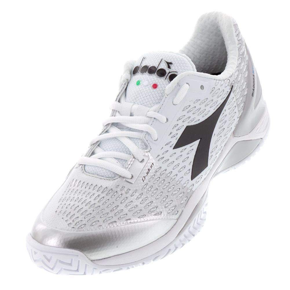 finest selection 7d193 a74fc Diadora Women s Speed Blushield 3 AG Tennis Shoes White and Silver