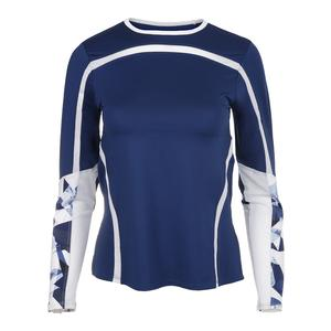 Women`s Linda Long Sleeve Tennis Crew Blue Depths and Crystal Marble