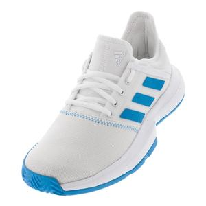 Women`s GameCourt Tennis Shoes White and Shock Cyan