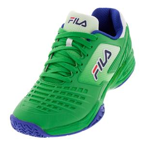 Men`s Axilus 2 Energized Tennis Shoes Bright Green, Surf the Web, and Fila Navy