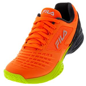 Men`s Axilus 2 Energized Tennis Shoes Shocking Orange, Ebony, and Safety Yellow
