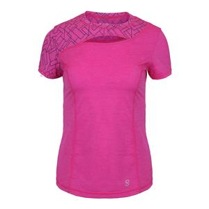 Women`s Par Short Sleeve Tennis Top Fuchsia Melange and Geo Print