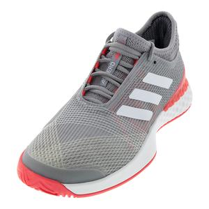 Men`s Adizero Ubersonic 3.0 Tennis Shoes Light Granite and White