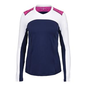 Women`s Crystal Long Sleeve Tennis Top Navy and White