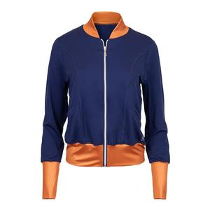 Women`s Tailored Bomber Tennis Jacket Navy Blue and Copper
