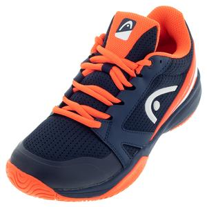 Juniors` Sprint 2.5 Tennis Shoes Dark Blue and Neon Red
