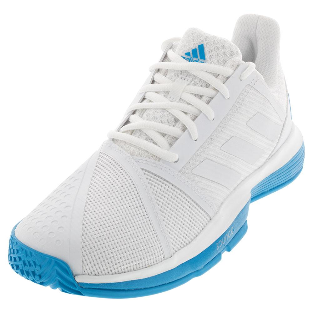 057597815ff ADIDAS ADIDAS Men s Courtjam Bounce Tennis Shoes White And Shock Cyan