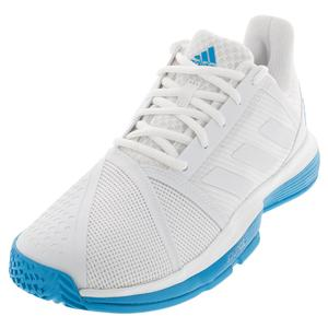 san francisco 24325 b08c7 NEW Men`s CourtJam Bounce Tennis Shoes White and Shock Cyan Adidas ...