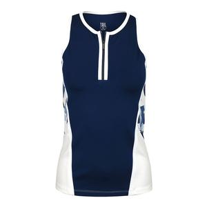 Women`s Haven Racerback Tennis Tank Blue Depths and Crystal Marble