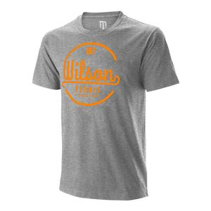 Men`s Lineage Tech Tennis Tee Heather Grey and Mandarin