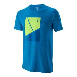 Men`s Tramline Tech Tennis Tee Brilliant Blue and Sharp Green