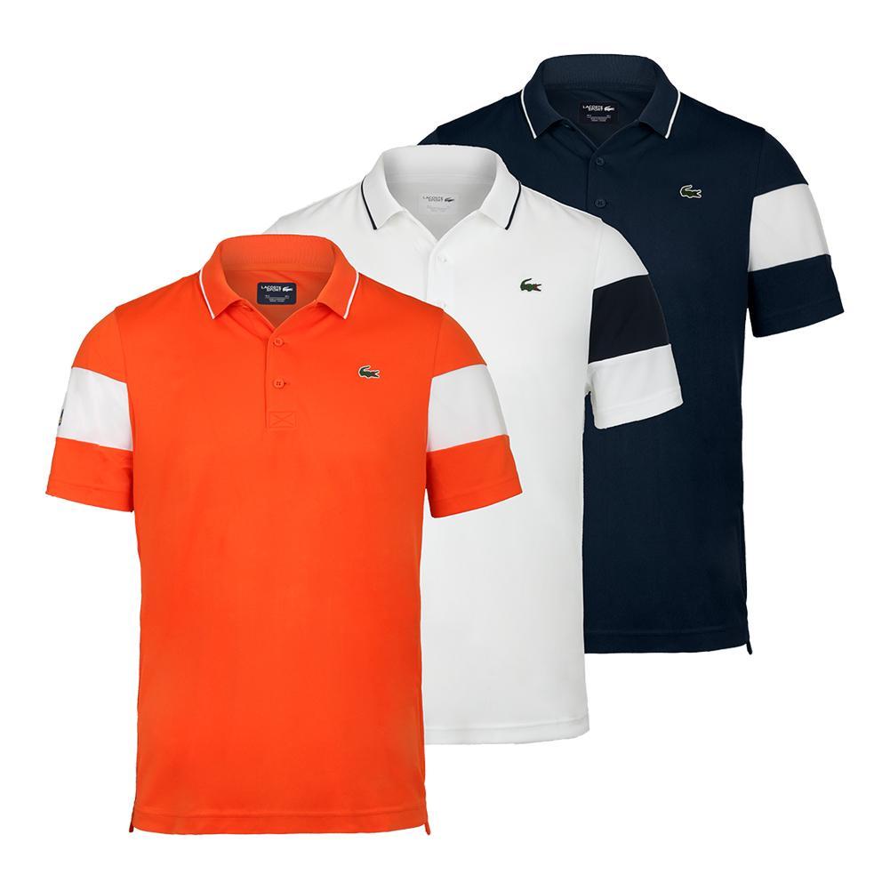 60cc73c6e61b46 LACOSTE LACOSTE Men s Miami Open Co Brand Color Block Tennis Polo