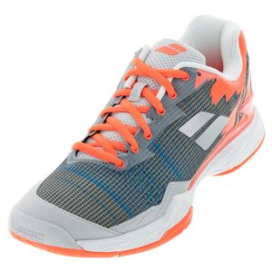 Men`s Jet Mach I All Court Tennis Shoes Silver and Fluo Strike