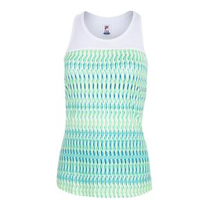 Women`s Mesh Racer Tennis Tank French Blue Abstract Print