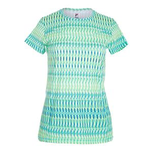 Women`s Cap Sleeve Tennis Top French Blue Abstract Print