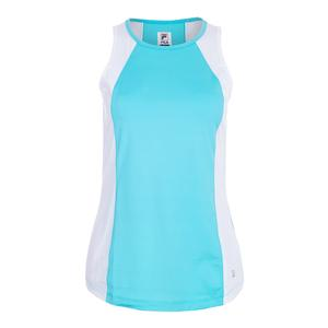 Women`s Full Coverage Tennis Tank Blue Curacao and White