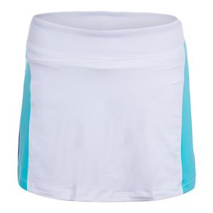 Women`s Colorblocked 13.5 Inch Tennis Skort White and Blue Curacao