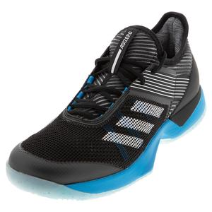 Women`s Adizero Ubersonic 3.0 Clay Tennis Shoes Black and Shock Cyan