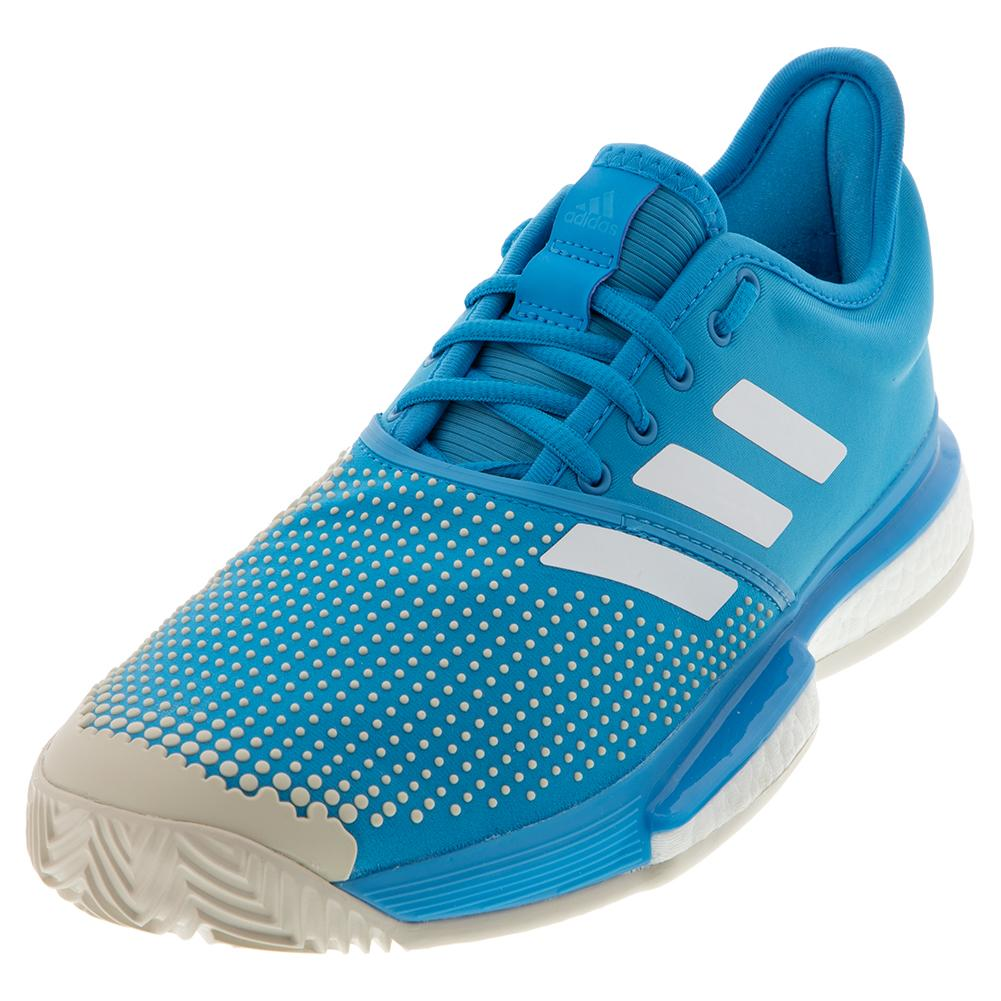 promo code 73ab6 acf11 Adidas Men s SoleCourt Boost Clay Tennis Shoes Shock Cyan and White