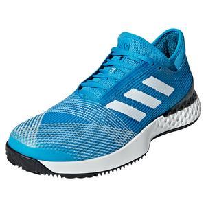 Men`s Adizero Ubersonic 3.0 Clay Tennis Shoes Shock Cyan and White