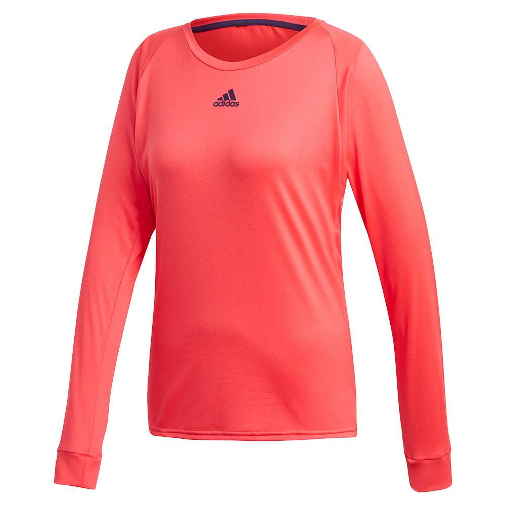 Women's Escouade Long Sleeve Tennis Top Shock Red And Legend Purple