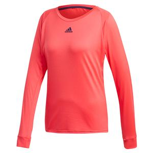 Women`s Escouade Long Sleeve Tennis Top Shock Red and Legend Purple