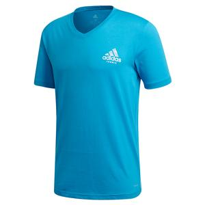 Men`s Q2 V-Neck Graphic Tennis Tee Shock Cyan