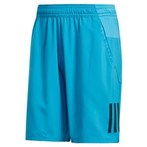 Men`s Club 3 Stripes 9 Inch Tennis Short Shock Cyan and Black
