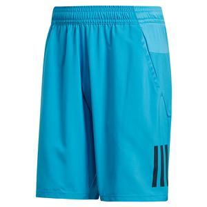 Men`s Club 3 Stripes 9 Inch Tennis Short Shock Cyan and Black