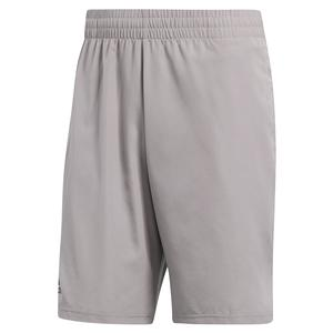 Men`s Club 9 Inch Tennis Short Light Granite and Shock Red