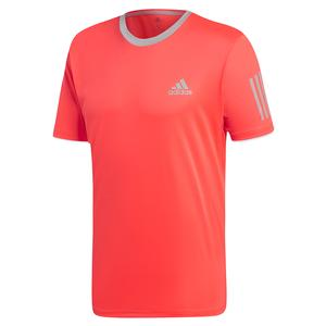 Men`s Club 3 Stripes Tennis Top Shock Red and Light Granite
